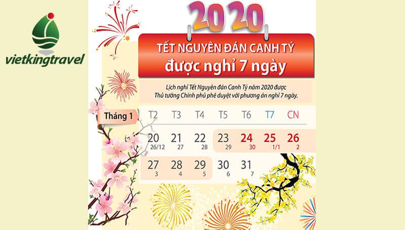 lịch nghỉ tết canh tý 2020 mới nhất